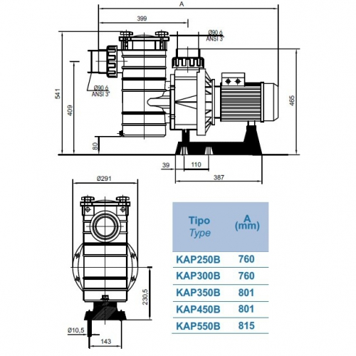 Насос KRIPSOL Kapri KAP 450, 66м3/ч, трехфазный